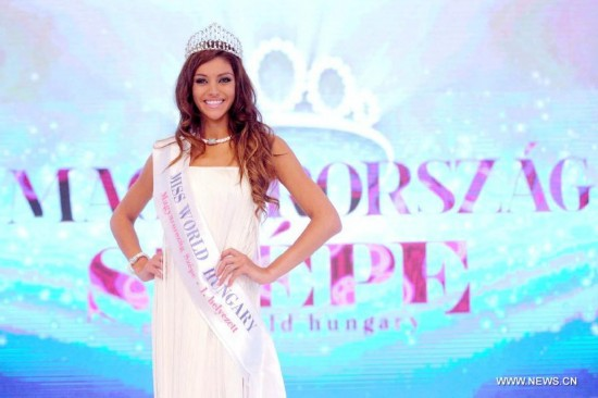 Edina Kulcsar won the Miss World Hungary beauty contest on Sunday.