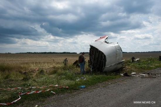 Experts from Malaysian investgation team inspect the crash site of flight MH17 of Malaysia Airlines in Ukraine's Donetsk region, on July 22, 2014.