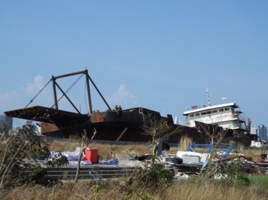 7月23日,台风前漂来的无名之船,已停靠海口湾多日。赵楠 摄
