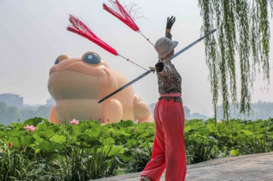 Critics busy as giant toad floats into Beijing