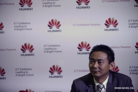 Brad Xuan, Huawei's Regional Manager in Panama, attends a press conference in Panama City, capital of Panama, on July 29, 2014.