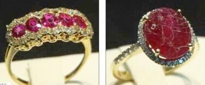 真假红宝石戒指用洗涤液浸泡后的对比图(左侧为真,右侧为假)