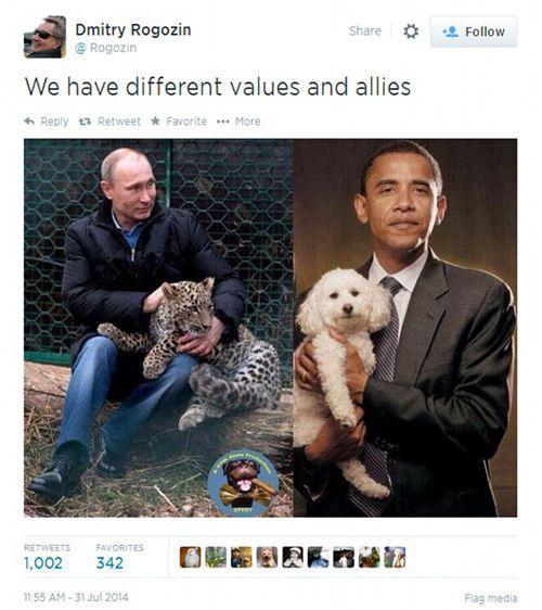 俄官员讽奥巴马:你的宠物是狗 普京的是豹子