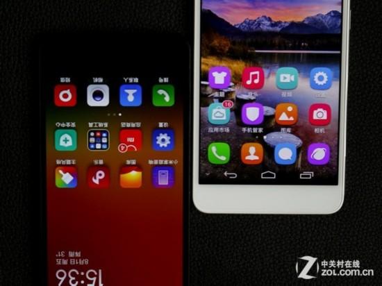 华为荣耀6(右)安卓功能键设计在屏幕里面