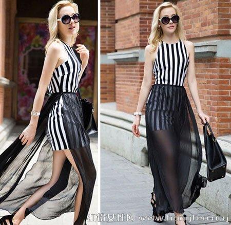 欧美风连衣长裙气质搭配 将经典完美演绎