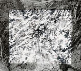 秋麦(Michael Cherney,美国,1969年生)、张洪(Arnold Chang,美国,1954年生),《边界线》(Borders),2013。喷墨印刷摄影与纸上水墨画。
