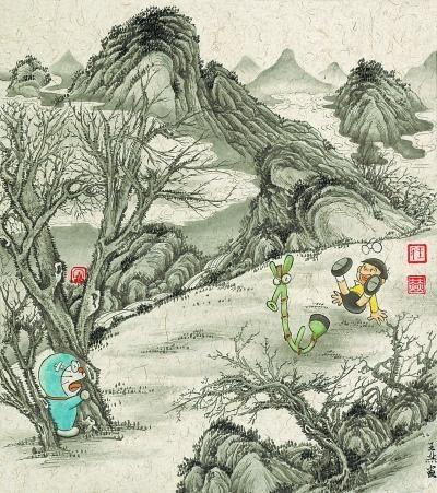 哆啦A梦穿越进中国水墨画 网友:萌萌哒