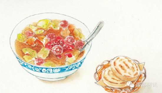 手绘水彩 美食食物 西安美食 胡辣汤 by:桃金娘 涂鸦王国 插图插画