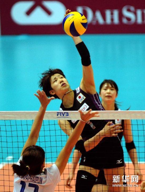 (体育)(1)排球――日本队获得世界女排大奖赛香港站季军