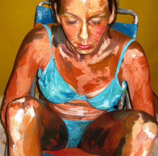 明星人体艺术阴唇阴��f�x�_艺术家用人体做画布的立体油画(组图)【7】