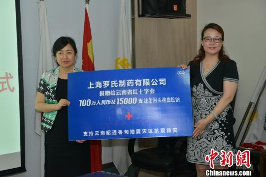 罗氏向鲁甸地震灾区捐赠价值200万元现金及药品