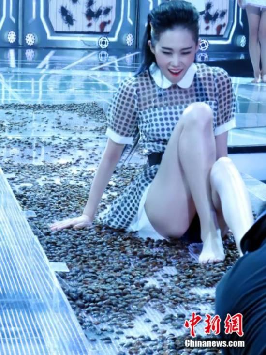 超模赤脚走活虫T台 当场吓哭【8】