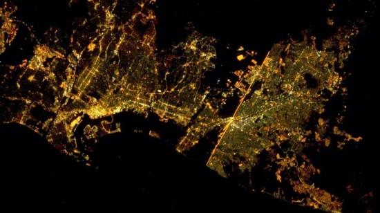国际空间站宇航员推特分享北京夜景