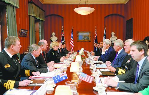 图片说明: 12日,美澳两国在悉尼举行部长级会议,双方正式签署一项为期25年的军力部署协议。