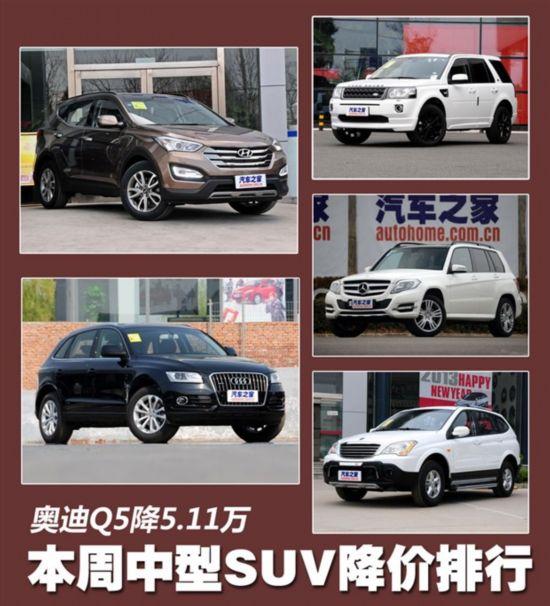 本周 中型SUV 降价排行-豪华SUV本周大降 奥迪Q5优惠最高达5万 图高清图片