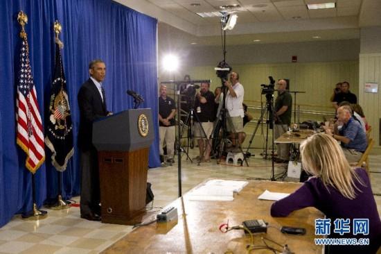 奥巴马就记者被杀讲话 讲完后去打高尔夫球