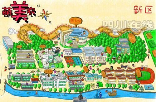 学长手绘萌版校园地图