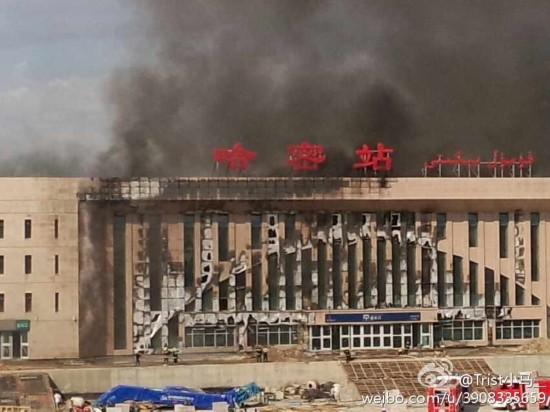 哈密/原标题:新疆哈密在建火车站发生大火
