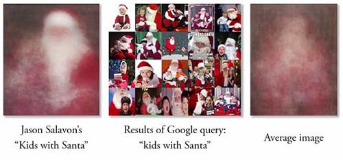 森·萨拉文手工合成的圣诞老人与孩子的图片.右边是利用软件自动