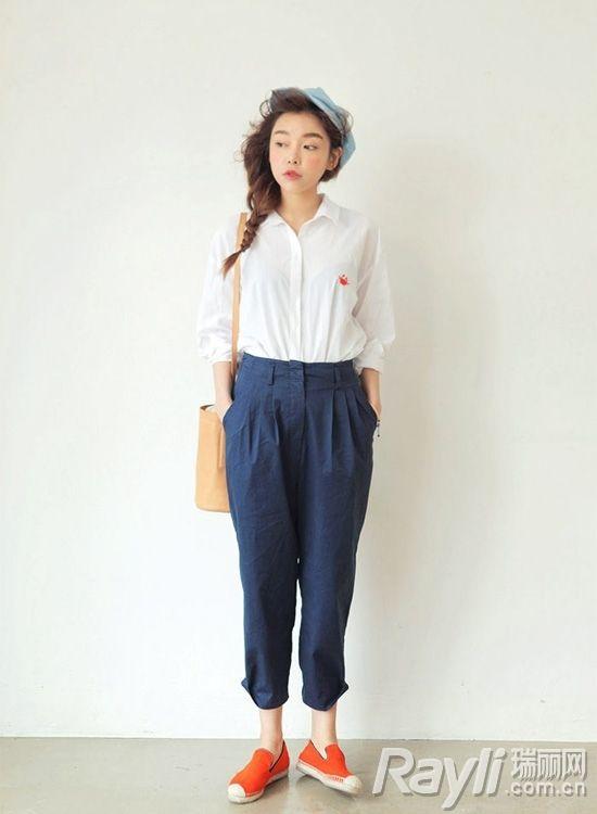 时尚深蓝色阔腿裤搭配