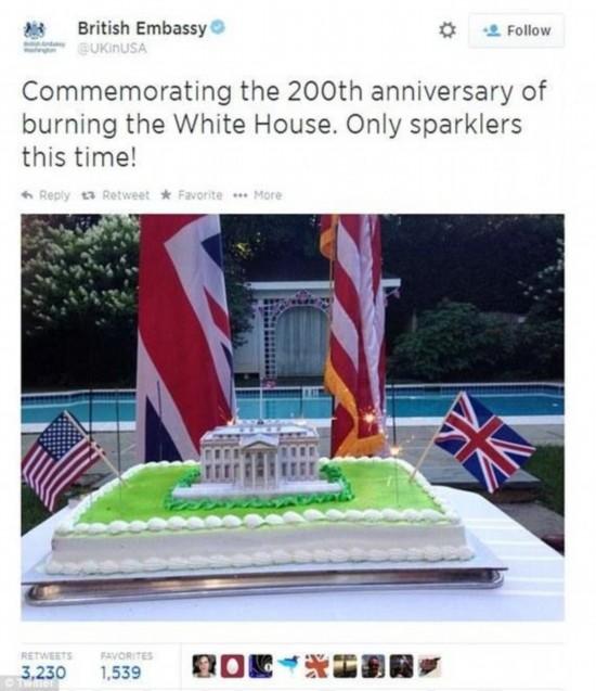 英国使馆庆祝火烧白宫200周年遭抗议 发声名道歉