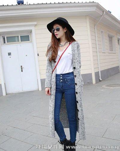 长款针织开衫显高显瘦搭 秋季防寒必备