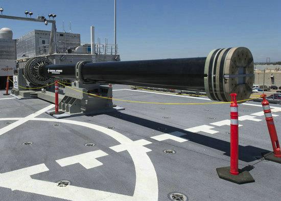资料图:美国海军电磁轨道炮。