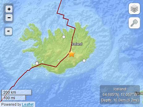 冰岛东南部发生4.9级地震 震源深度10公里