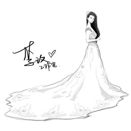 公主穿婚纱简笔画