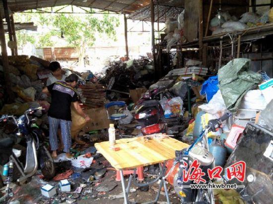 海口一废品站惹众怒 废品堆积如山蚊蝇肆虐