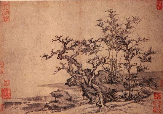上海博物馆藏王蒙《溪山风雨图册十之二》  (高28.3厘米,宽40.5厘米)