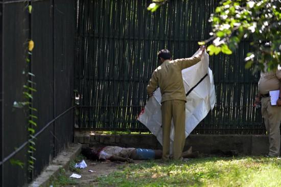 印度一男子翻过动物园栅栏