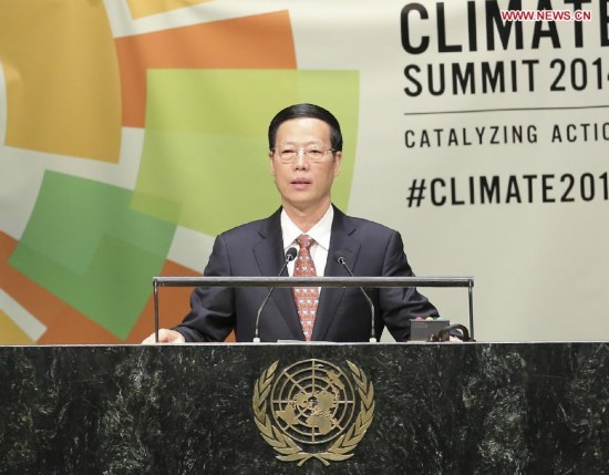 Zhang Gaoli, Chinese vice premier and President Xi Jinping's special envoy, addresses the United Nations Climate Summit 2014 at the UN headquarters in New York Sept. 23, 2014.