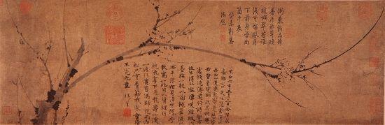 上海博物馆藏王冕《墨梅图卷》  (纵30.8厘米,横92.2厘米)