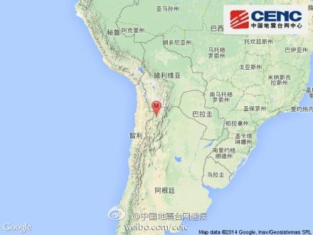 阿根廷发生6.2级地震 震源深度190千米(图)