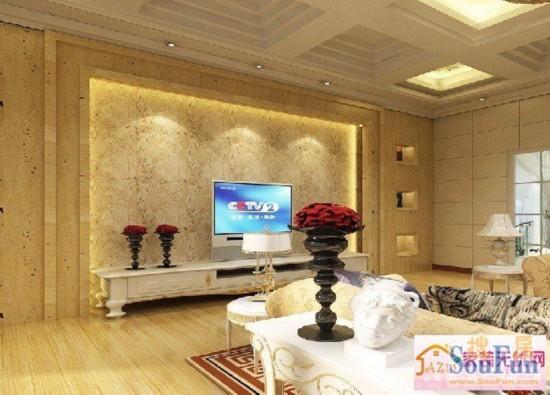 欧式装修客厅 2014电视墙装修效果图大全贵气逼人