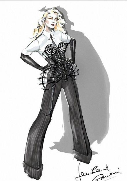 高缇耶为2012麦姐巡演演出服设计草图