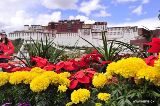 Flower decorations are set to greet the National Day in front of the Potala Palace in Lhasa, capital of southwest China's Tibet Autonomous Region, Sept. 30, 2014.