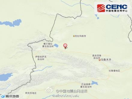 新疆乌苏市发生3.1级地震 震源深度12千米