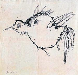 《鸟》作者:叶永青售价:2001年拍出25万人民币的高价