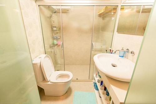 卫生间全景 站在门口拍了张-55平温馨小复式 厨房改造是榜样