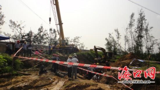 海口龙塘水源厂紧张施工 力争今晚恢复供水