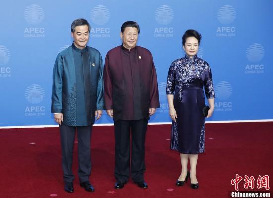 彭丽媛欢迎参加2014年APEC会议的各经济体领导人及配偶.图为习图片