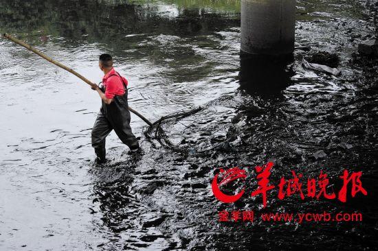 严重污染成黑色的茅洲河(资料图片)