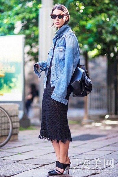 牛仔外套+连衣裙 帅气甜美吸睛无敌