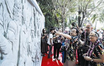 """三亚:纪念""""海判南天""""300周年雕塑墙15日揭幕"""