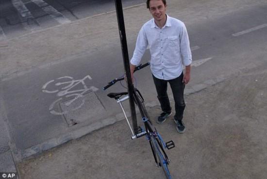 """组图:学生发明""""永不丢失""""自行车"""