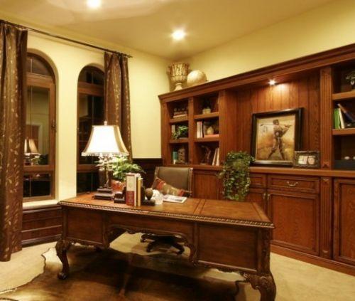 小书房装修效果图:美式的设计,沉稳中有书香气息