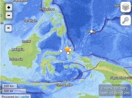 印尼东部发生6.9级地震海啸预警已发出(图)