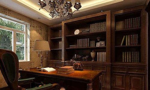 小书房装修效果图:欧式经典的书房设计